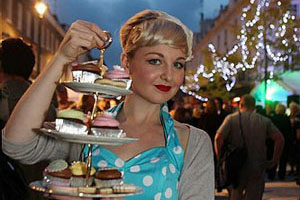 Vintage Waitress with Cakes
